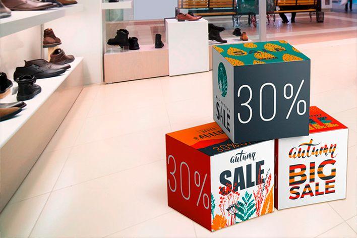 Cubos de cartón Comunicación visual