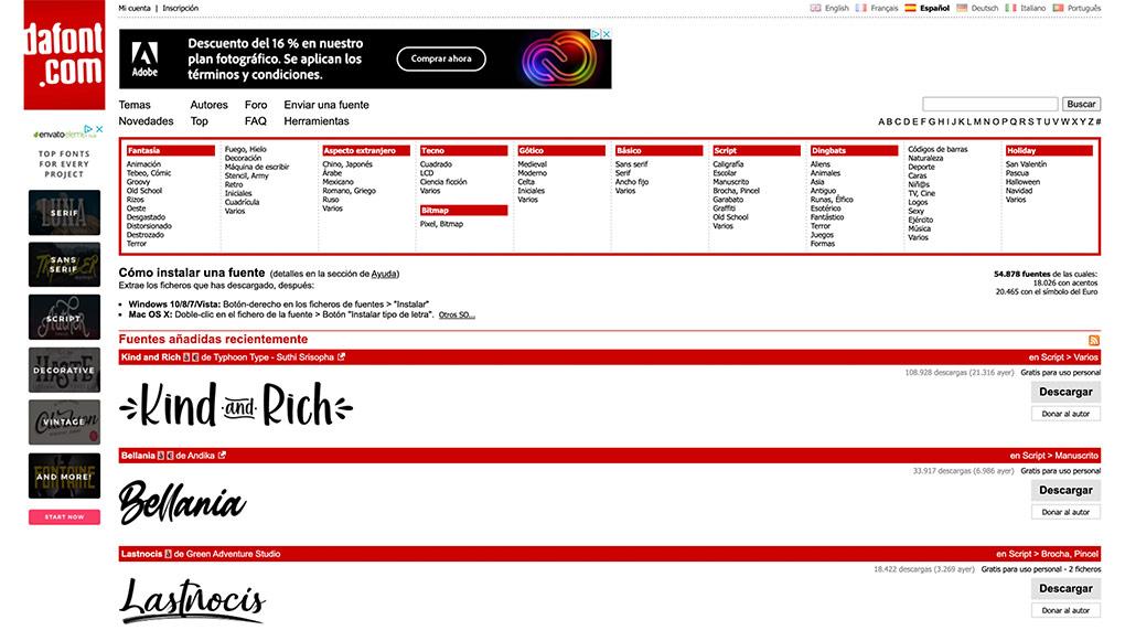 Imprenta online gran formato programa diseño gráfico dafont