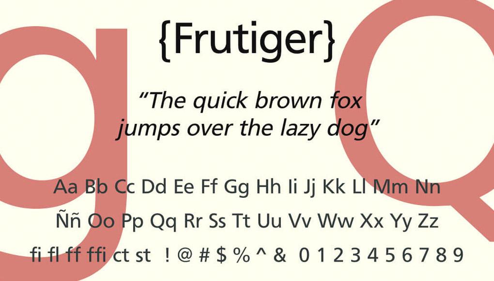 tipografías frutiger